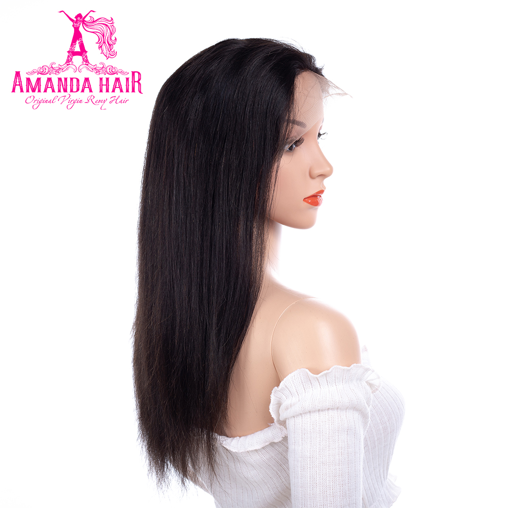 Amanda 360 Lace Frontal Human Hair Wigs with Adjustable Straps Average Size Malaysian St ...