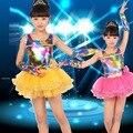 Crianças de desempenho latina Salsa dança de salão vestido de lantejoulas Tutu meninas crianças Dancewear trajes S1742