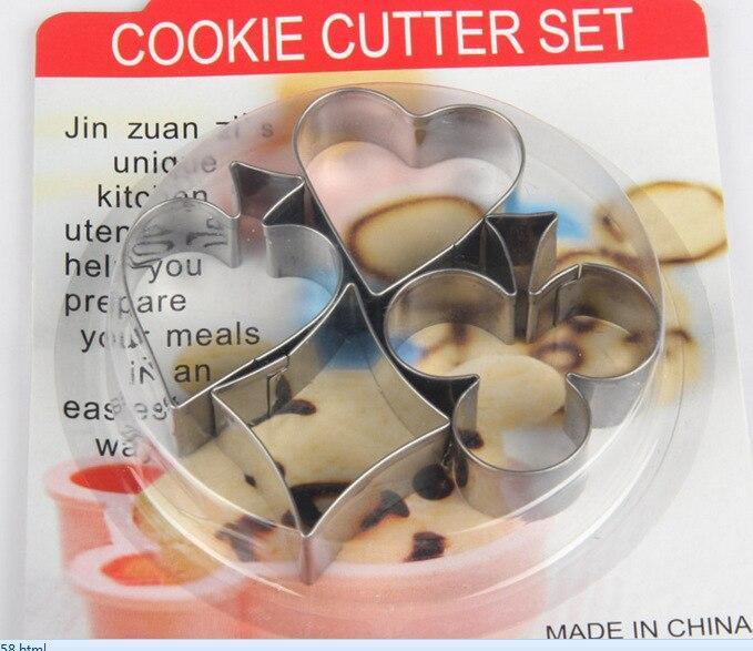 2458 Uova Fritte Stampo Tipo Muffa Della Torta Del Biscotto Di Cottura Della Torta Modello Fai Da Te Manuale Mano Di Poker Cookie Cutter Set