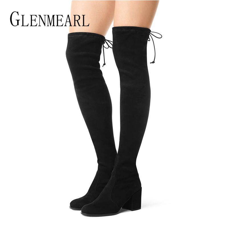 High Boots Women Over The Knee Winter Shoes High Heels Black Stretch Lace Up Round Toe Casual Shoes Woman Plus Size Botas Mujer stretch fabric over the knee boots sexy back zipper low heels shoes women round toe black khaki long boots elastic botas mujer