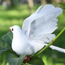 Biały sztuczny pokój Pigeon piana skrzydła z piórami Dove ozdoby nowoczesne akcesoria do dekoracji wnętrz na dekoracje ślubne i bożonarodzeniowe tanie tanio CN (pochodzenie) Zwierząt Organiczny materiał