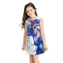 2019 Baby Girl Dress Unicorn Rainbow Painting Print Summer Fashion Sleeveless Clothes Children Vestidos Kids Dresses