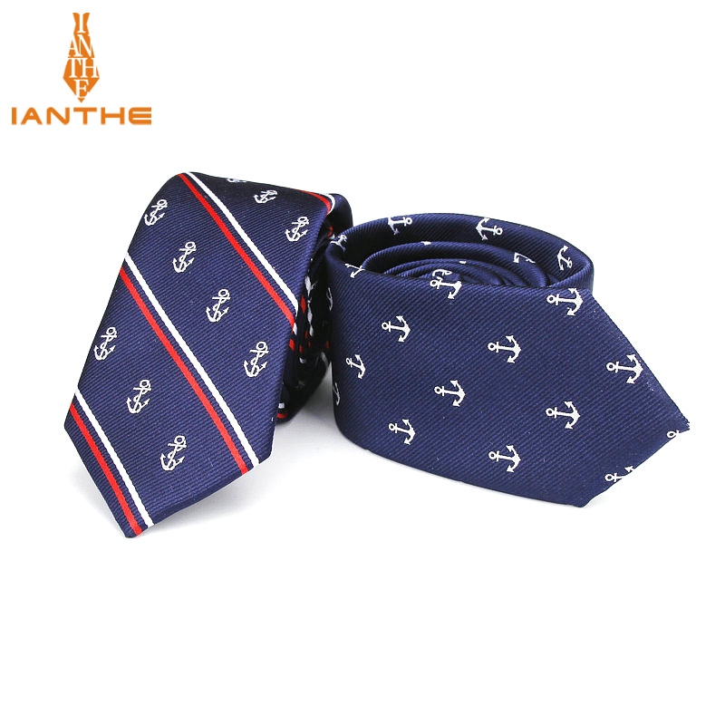 Luxury Men's Anchor Woven Pattern Ties For Men's Slim Neckties Polyester Jacquard Skinny Neck Tie Wedding Corbata Gravata Ties