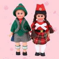 4inch Ethnic Doll 2pc Set Kids Toy Mini Doll French Couple Ethnic Clothing Girl Boy Children