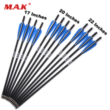 check price 6/12pcs Target Hunting Arrows Crossbow Bolt 17/20/22 Inches Crossbow Carbon Arrow with 125 Grain Crossbow Arrow Broadheads Sale Best Quality
