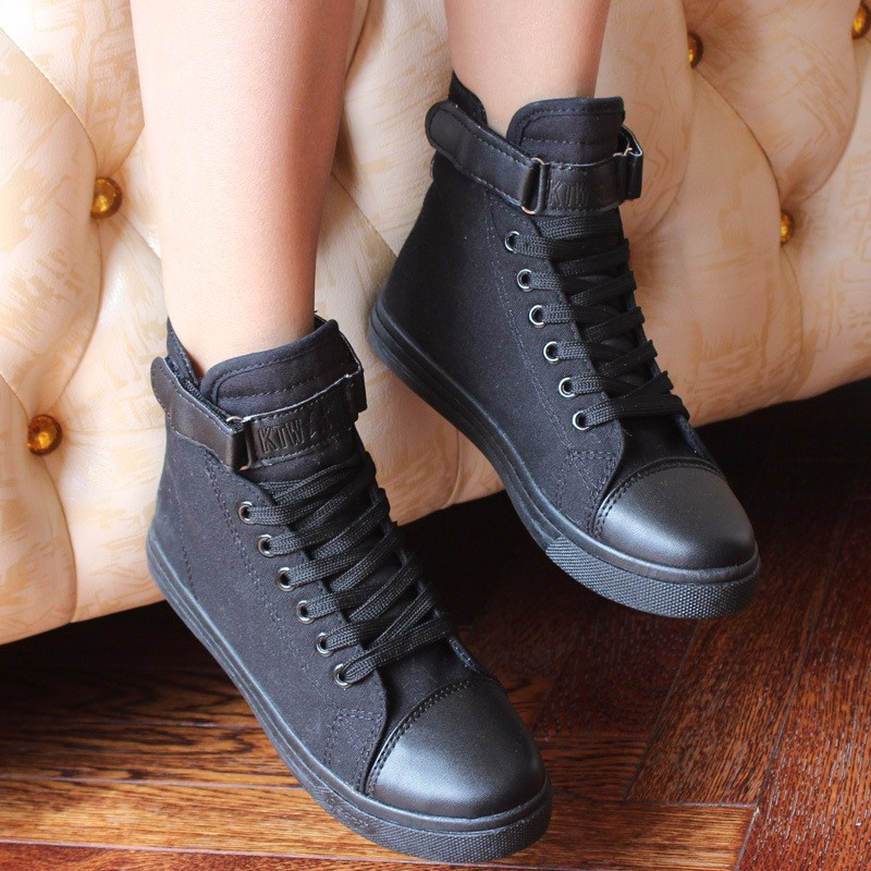 Flat High Top Canvas Women Shoes 17 Colors Spring Autumn Women's Flats Espadrilles Lace Up Casual Shoes Foot 22-24.5CM YD87 (6)