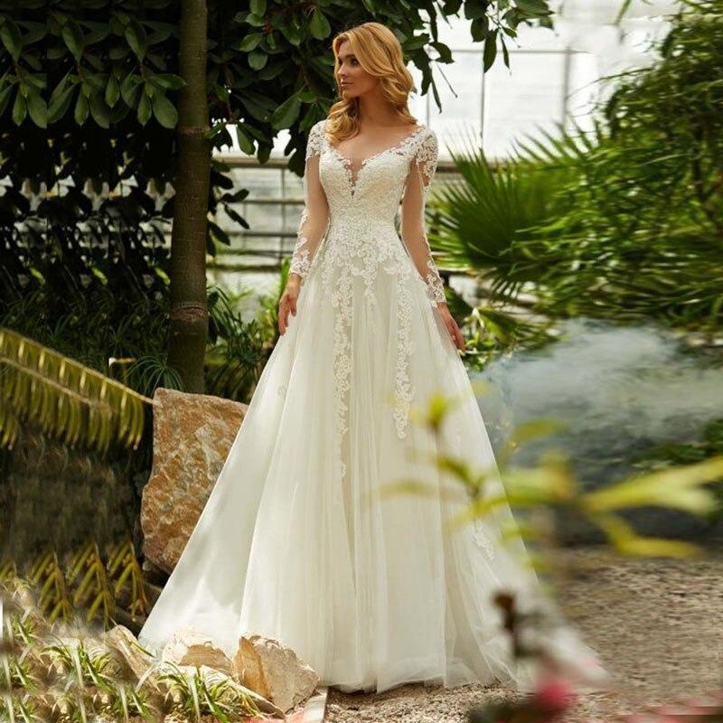 Eightale Long Sleeve Wedding Dress V-Neck Appliques Lace Elegant Wedding Gowns Boho Plus Size Bride Dress Vestido De Noivas 2019