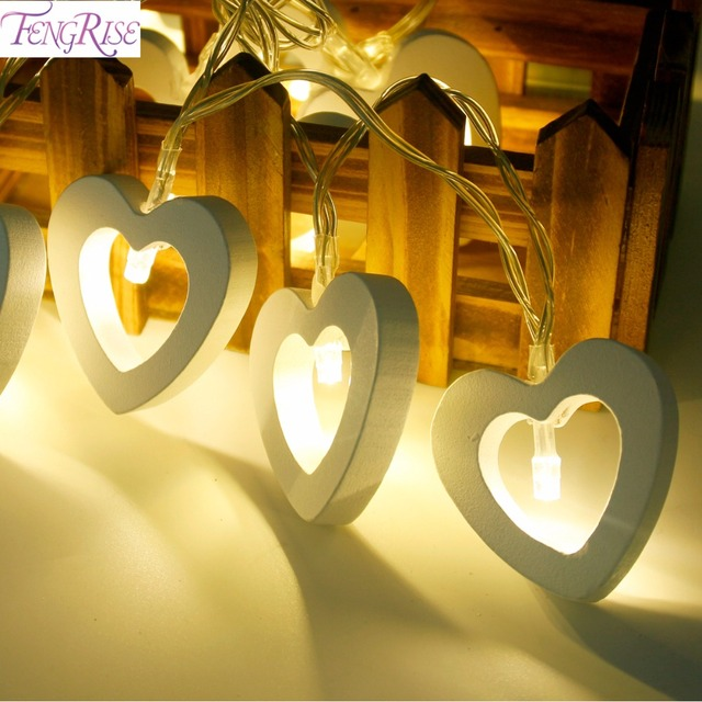 FENGRISE 1.2M 10 LED Wooden Heart Shape String Fairy Lights Romantic Wedding Decoration Valentine's Day Birthday Party Supplies