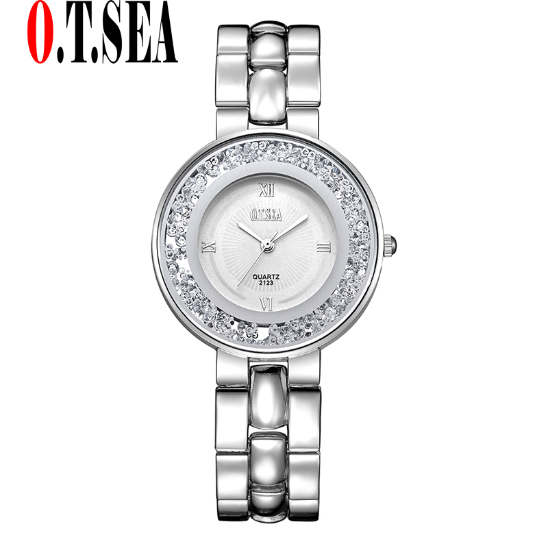 Luxury O.T.SEA Brand Crystal Bracelet Watches Women Ladies Fashion Dress Quartz Wristwatch Female Watch 2123 bs brand women luxury fashion rhinestone watches lady shining dress watch square bracelet wristwatch ladies diamond quartz watch