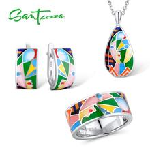 SANTUZZA طقم مجوهرات ملون حلقة من الإينامل أقراط قلادة نقية 925 فضة المرأة مجوهرات الأزياء طقم مجوهرات اليدوية المينا