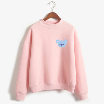 BTS BT21 Kpop Love Yourelf Korean Sweatshirt Women Fashion Sweatshirt Funny Hoodies Sweatshirts Kawaii Harajuku sudadera mujer Свитшот