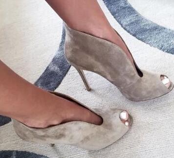 Cheap Price Grey Suede V Ankle Boots Peep Toe Cu-out Vamp Gorgeous Ladies Party Shoes Women Gladiator Sandal Boot Big Size 10