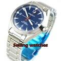 Мужские часы с синим циферблатом  ремешок из нержавеющей стали  сапфировое стекло  автоматические мужские часы  41 мм