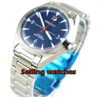 Brushed 41mm men's watch blue dial Stainless steel strap sapphire glass Automatic movement mens Watch|Mechanical Watches|   -