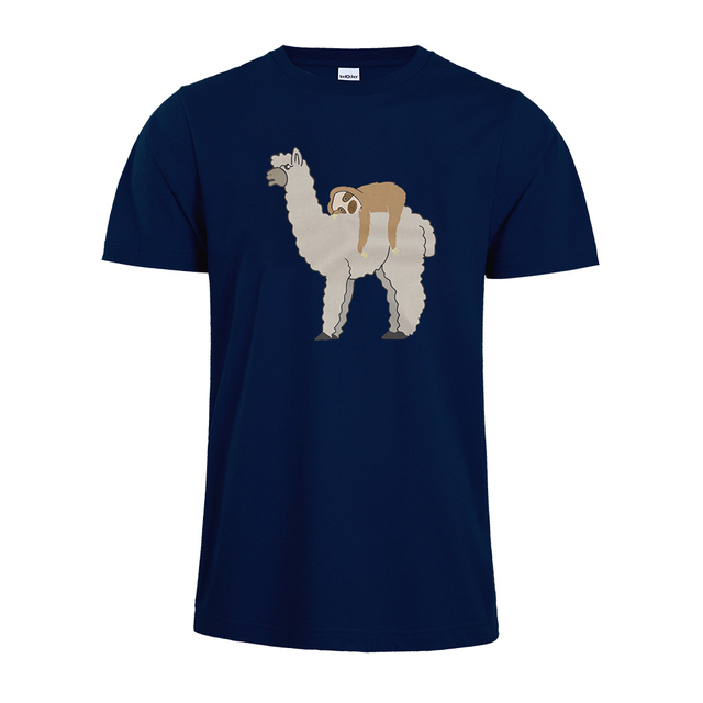 Cute & Funny Sleepy Sloth and Llama Women's Premium Short Sleeve T-Shirt Cute Sloth Llama unisex Shirt
