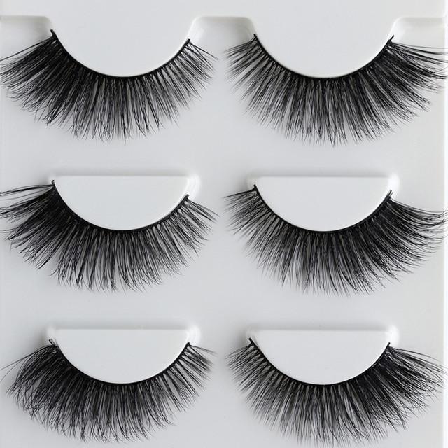 22409f7b33e 3 Pairs False Eyelashes Natural Makeup Thick Cross 3D Lashes Voluminous  Messy Eye Lashes Black Soft