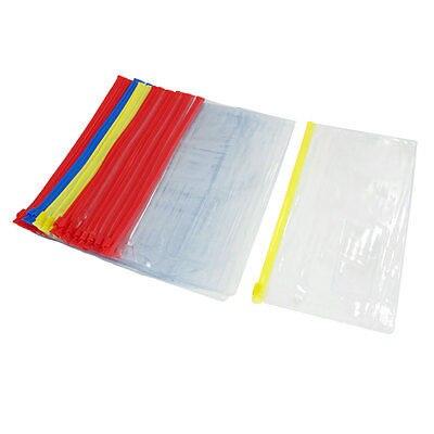 30 Pcs Zippered B6 Paper File Document Holder Assorted Color Soft Plastic Bag
