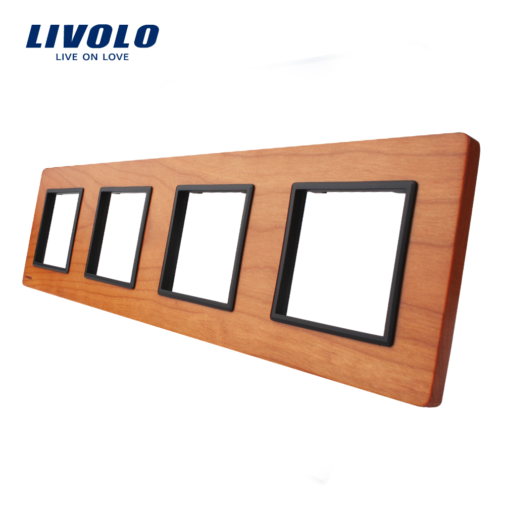 Livolo Luxury Cherry Wood Switch Panel, 294mm*80mm, EU standard,Quadruple Wood Panel,VL-C7-4SR-21