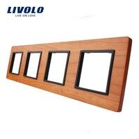 Livolo Luxury Cherry Wood Switch Panel 293mm 80mm EU Standard Quadruple Wood Panel VL C7 4SR