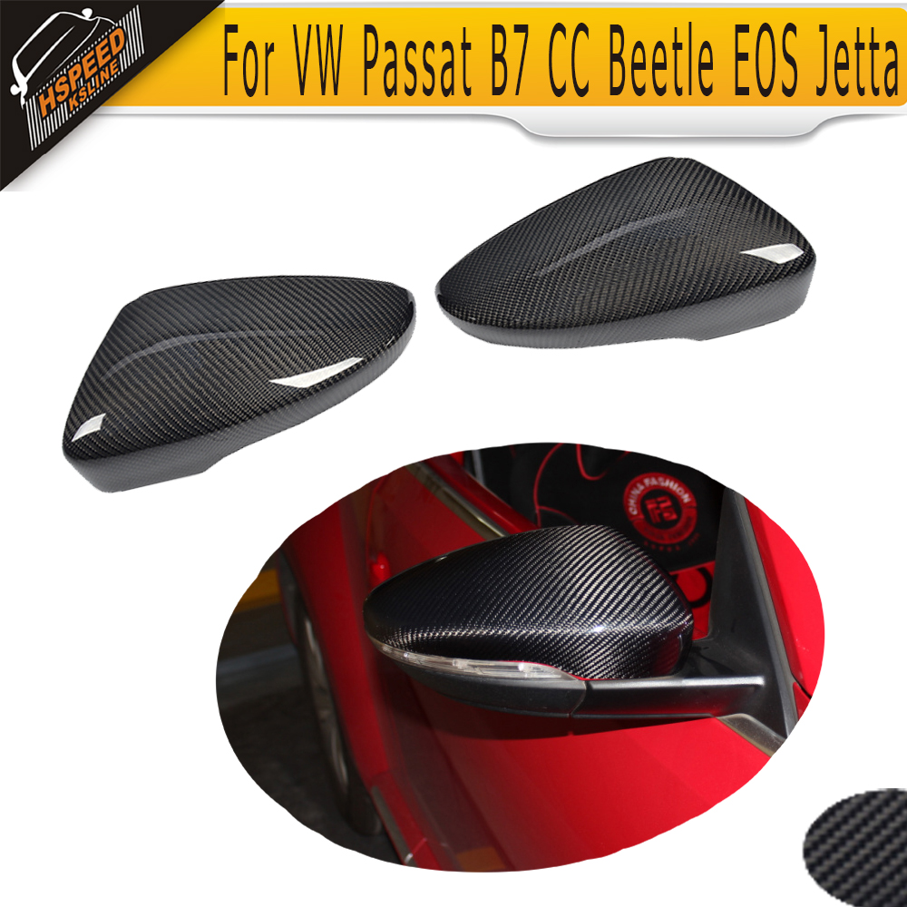 Carbon Fiber Car mirror covers Caps for VW Passat B7 CC Jetta MK6 Beetle EOS Scirocco 12-14 Non R