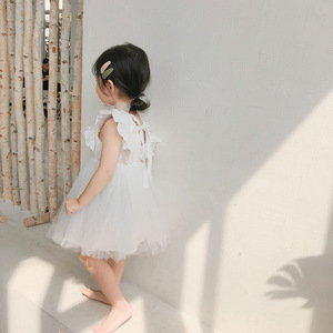 Image 4 - 2019 Summer New Arrival Korean Version cotton pure color all match princess lace vest bubble dress for cute sweet baby girls