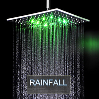 Innovative Bathroom 16 inch Rain Shower Head LED RGB Light 304 Stainless Steel Rainfall Bath Panel / Showerhead With Ceiling Arm