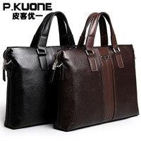 P.kuone Young fashion man bag leather Men briefcase handbag, men shoulder bag, business work laptop bag, new fashion briefcase