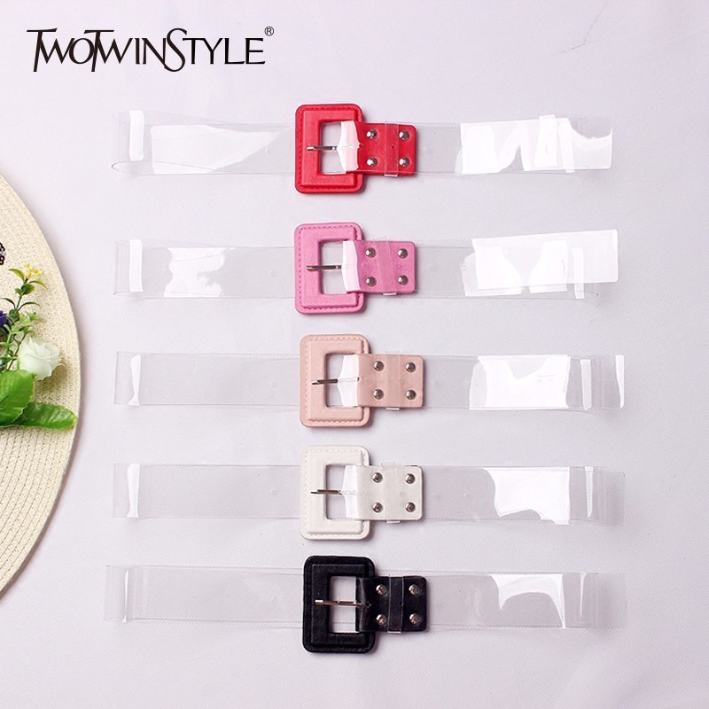 TWOTWINSTYLE Transparent Belt Women PVC Patchwork Pu Leather Basic Belts Cummerbund Collocation Dress Female Fashion Korean