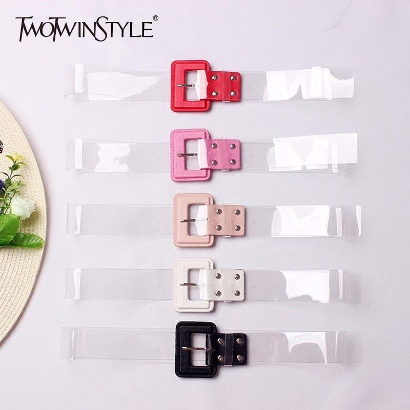 TWOTWINSTYLE Transparent Belt Women PVC Patchwork Pu Leather Basic Belts Cummerbund Collocation Dress Female Fashion Korean