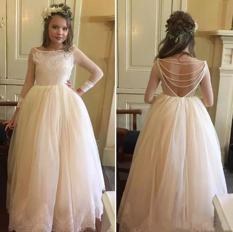 Ivory Ball Gown Lace Pearls Flower Girl Dress for Wedding Long Sleeve Custom Made First Communion Dress Free ShippingIvory Ball Gown Lace Pearls Flower Girl Dress for Wedding Long Sleeve Custom Made First Communion Dress Free Shipping