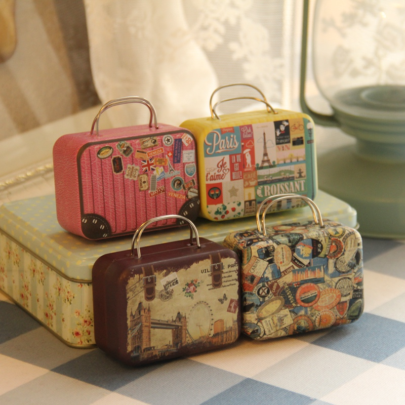 Multi-Pattern Suitcase Collectible Box Smykker Mønter Diverse Tin Box Creative Gave Opbevaring Jars Øreringe Ring Metal Opbevaring dåser