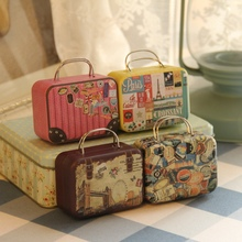 Continental cute retro suitcase trumpet rectangular candy box bag small tin container