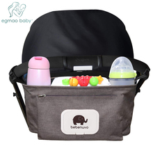 Baby Stroller Organizer Bag with Tissue Pocket and Cup Holders Extra-Large Storage Space Accessories Nappy