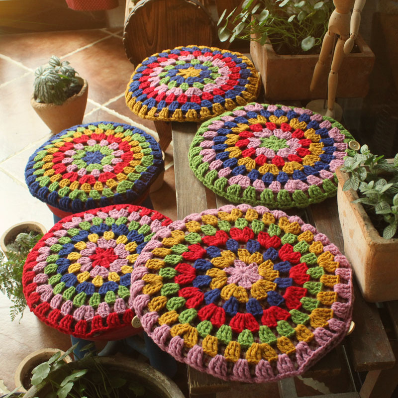 Crochet National Style Handmade Round Bar Stool Cushion Knit Creative Craftwork Throw Pillow Cover 5colors Freeshipping Dropship in Cushion from Home