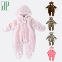 0 9month Baby Winter Clothes Animal Soft Fleece Jumpsuit One Piece Long Sleeve Overalls Newborn Baby