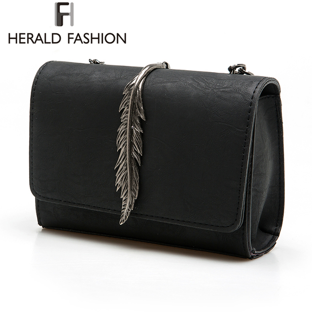 Women Herald Leaves Decorated Mini Flap Suede PU Leather Shoulder Bag