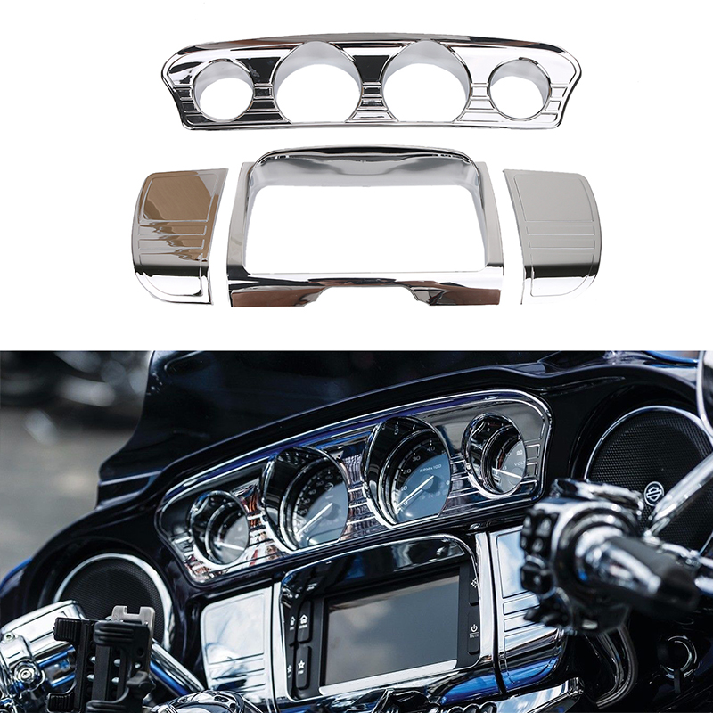 For Harley Touring Electra Street Glide Deluxe Tri Line Stereo Trim Ring Cover Ultra Chrome Motorcycle Inner 2014-2017 C/5