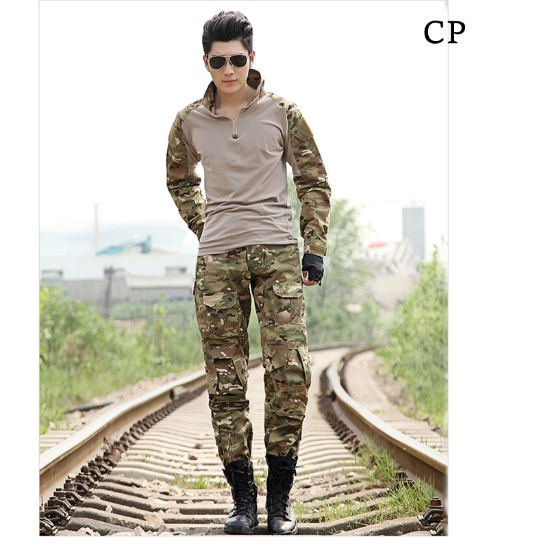 CP Multicam Men Tactical Uniform Set Outdoor Combat Jacket + Pants W/ Knee & Elbow Pads Military Hunting Paintball Uniform Sets tmc l9 tactical combat pants multicam with knee pads original multicam fabrics free shipping sku12050812