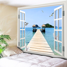 Sea Tapestry Tenture Mural Analog Window Ocean Viewing Platform Home Decor Bedroom Wall Hanging Carpet Couch Blanket Table Cloth wall hanging art window ocean print tapestry