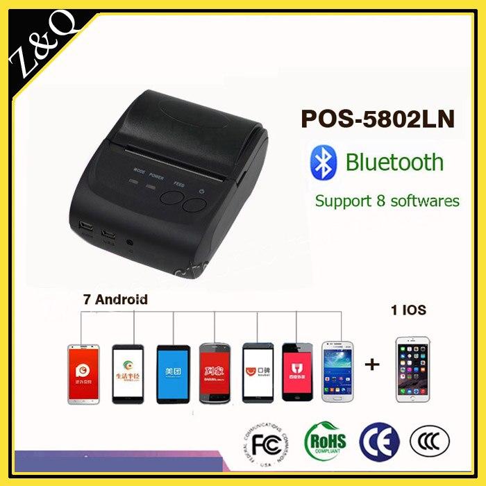 Système portatif d'iphone d'oin de windows de soutien de POS-5802LN d'imprimante de reçu de Bluetooth de 58mm et téléphone Android de 7 pièces