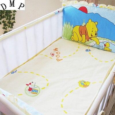 Promotion! 5PCS Mesh Cotton Baby Bedding Set Cartoon Crib Bedding Set Bumpers Cot Set,include(4bumpers+sheet)