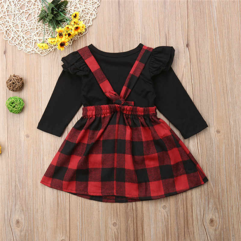 d5e529c97 ... Children Baby Girls Long Sleeve T-shirt Tops+Red Black Plaids Skirts  Overalls 2PCS ...