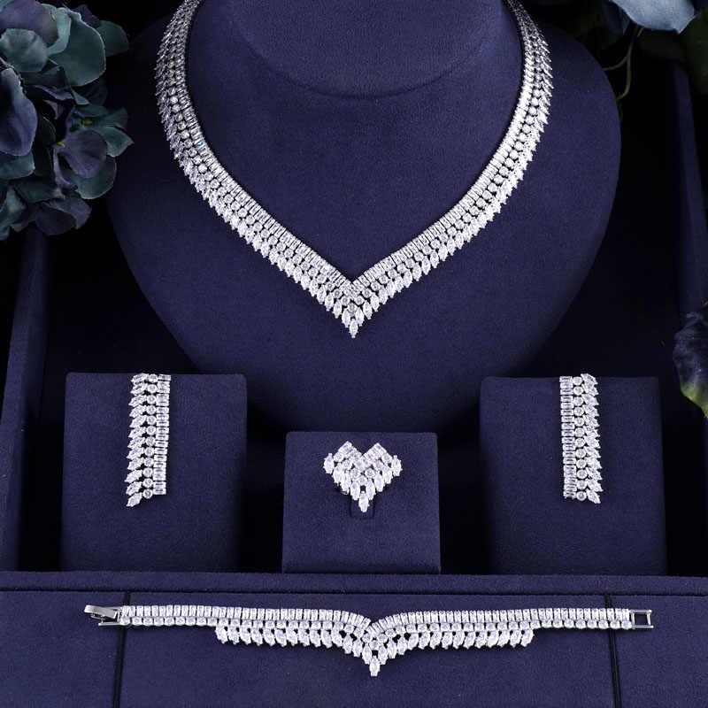 jankelly African 4pcs Bridal Zirconia Jewelry Sets For Women Party, Luxury Dubai Nigeria CZ Crystal Wedding Jewelry Sets