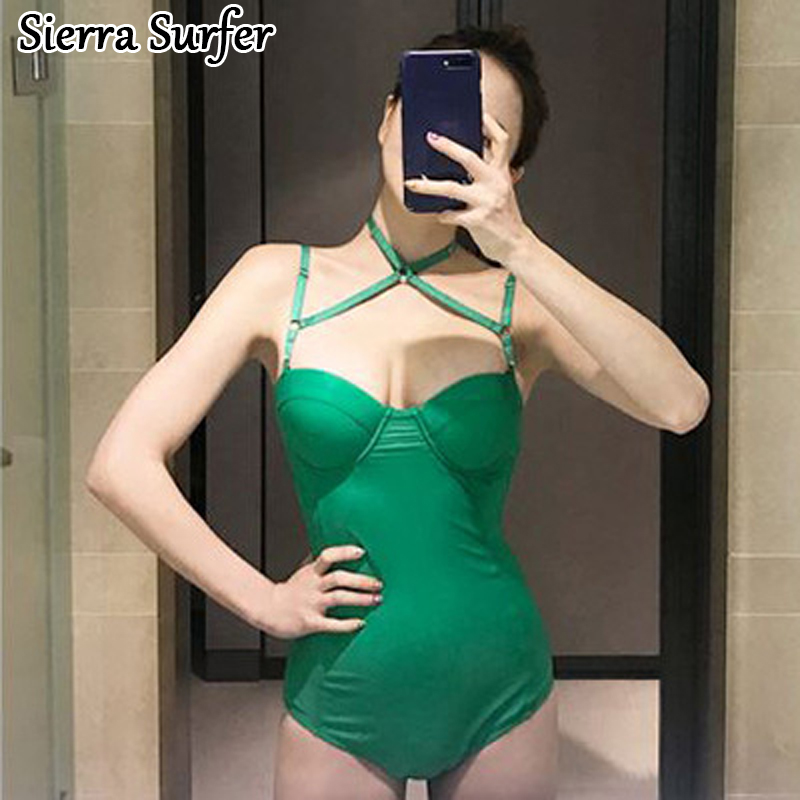Swimsuit One Piece Maios Womens For Beach Swiming Suit Women Woman Swimwear Swim Dress 2018 New Sexy Solid Cotton Sierra Surfer