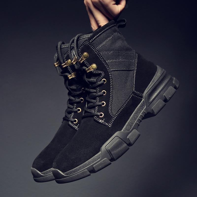 Мужская зимняя высокая обувь; Мужская обувь; кожаные мужские ботинки дезерты; Повседневная обувь; трендовые мужские кроссовки - 4
