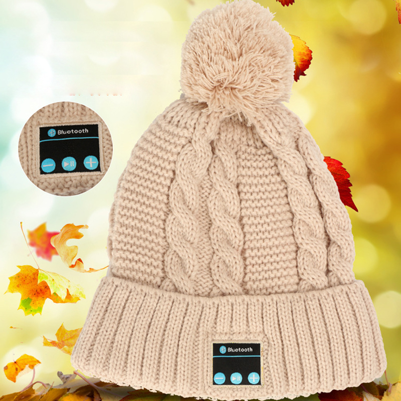 DOITOP  Knitted Woolen Hat BT Earphone Headphone Wireless Headset Speaker Mic Winter Outdoor Sport Stereo Music Warm Hat Cap