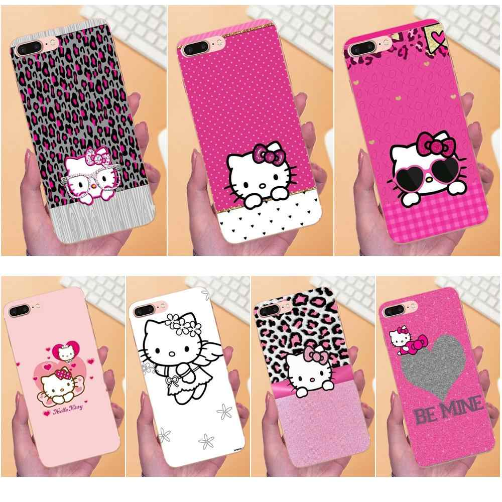 Рисунок Hello Cat Kitty Cat для Apple iPhone 4 4s 5 5C 5S SE 6 6 S 7 8 Plus X XS Max XR мягкие чехлы