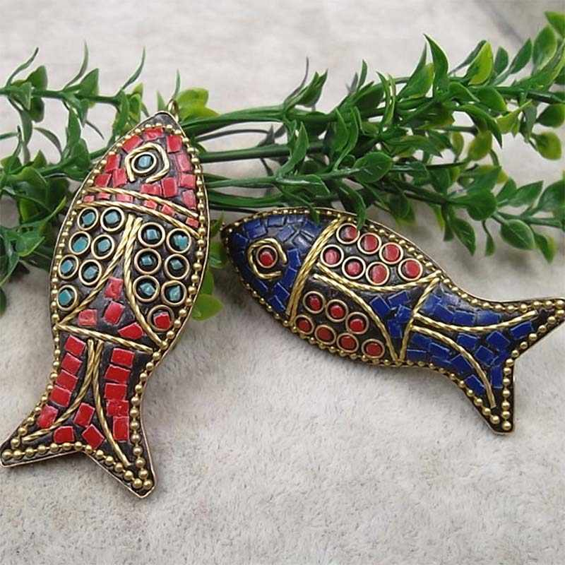 Ethnic Nepal Craft Metal Fish Charms 60x25mm Copper Handmade Necklace Pendants DIY Jewelry Making Accessories For Women Birthday
