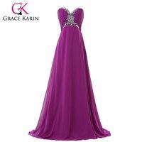 Long Evening Dress Purple Lange Avondjurk Grace Karin 2016 Sweetheart Chiffon Formal Special Occasion Dresses