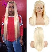 613 Синтетические волосы на кружеве парики для черный Для женщин Цветной фронтальной 100% Remy бразильский Прямо Длинные и Короткие Мёд блондинк